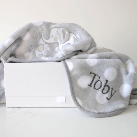 Personalised Baby's Grey And White Elephant Blanket